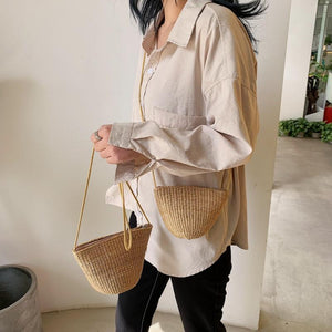 Simple Round Straw Women Summer Rattan Handmade Woven Beach Cross Body Bag