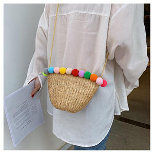 Bohemia Pompom Round Straw Women Summer Rattan Handmade Woven Beach Cross Body Bag