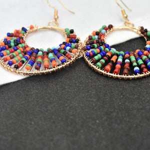Bohemia Colorful Round Resin Beaded Drop Earring Jewelry