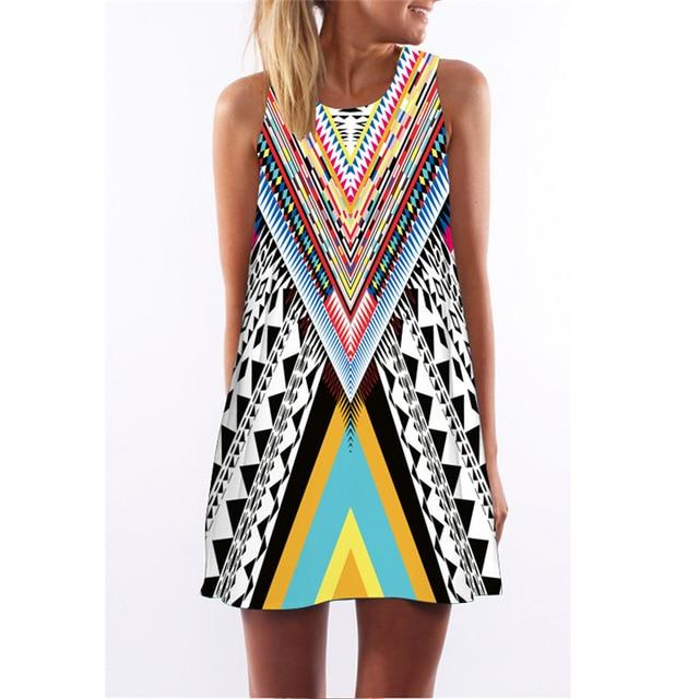 Boho Summer Loose Casual Sleeveless Beach Mini Dress