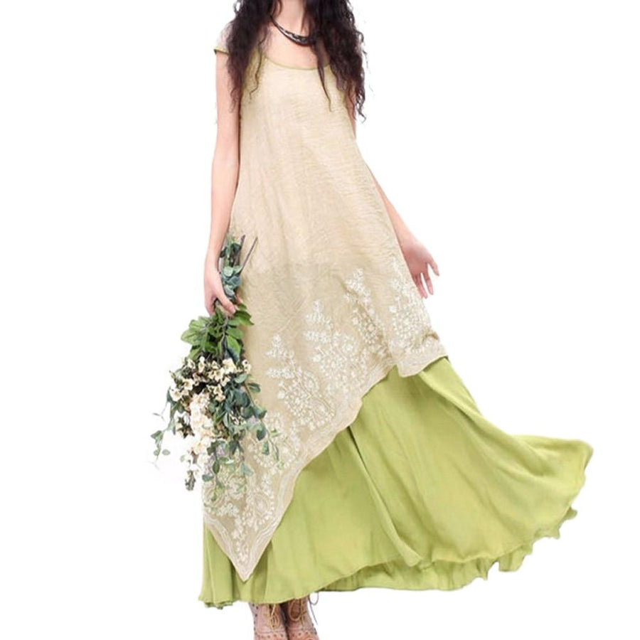 Boho Plus Size 2 Layer Summer Embroidery Floral Cotton Maxi Dress