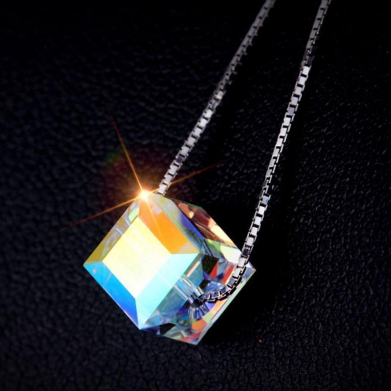 Aurora Bling Silver Color Crystal Cube Pendant Simple Necklace