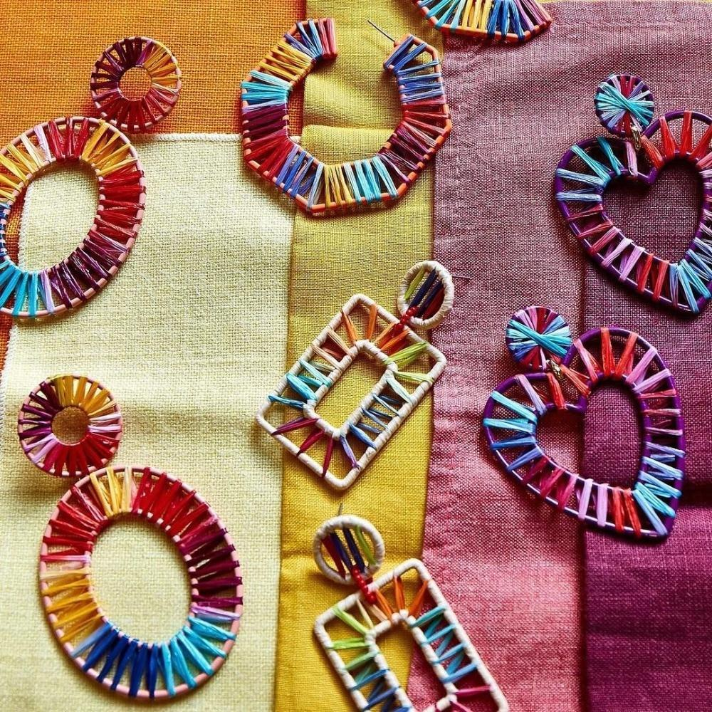 Ethnic Handmade Oval Hoop Rainbow Earrings Jewelry