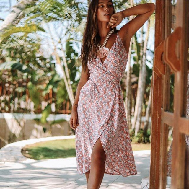 Vintage Summer Boho Print V Neck Backless Strap Midi Dress