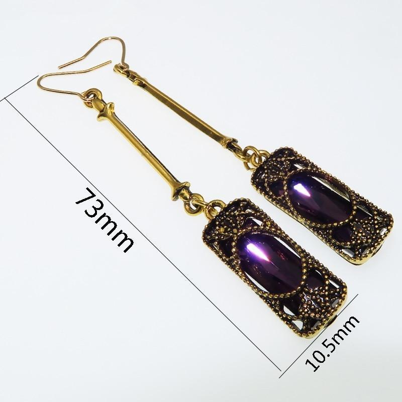 Vintage Hollowed Rhinestone Bohemian Jewelry Antique Silver Drop Earrings