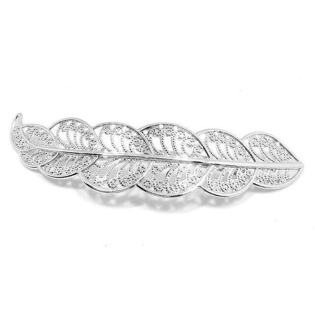 Vintage Novelty Leaf Shape Hollow Out Metallic Bangs Hairpins