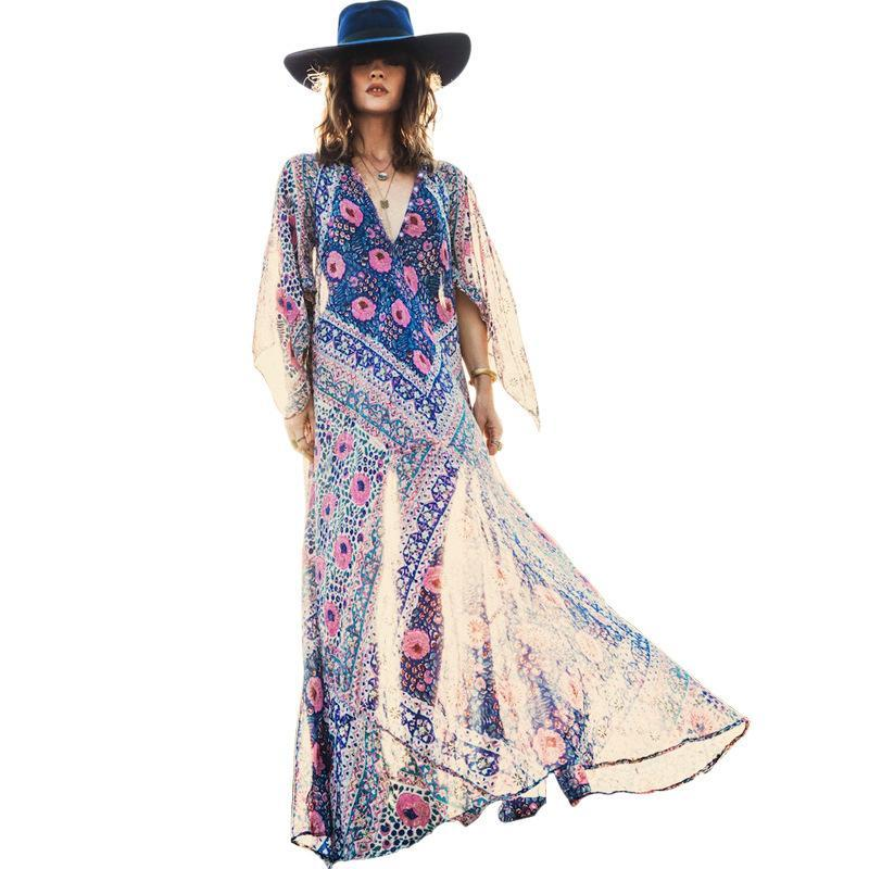 Bohemian Long Sleeve V Neck Floral Print Summer Maxi Dress Vestidos