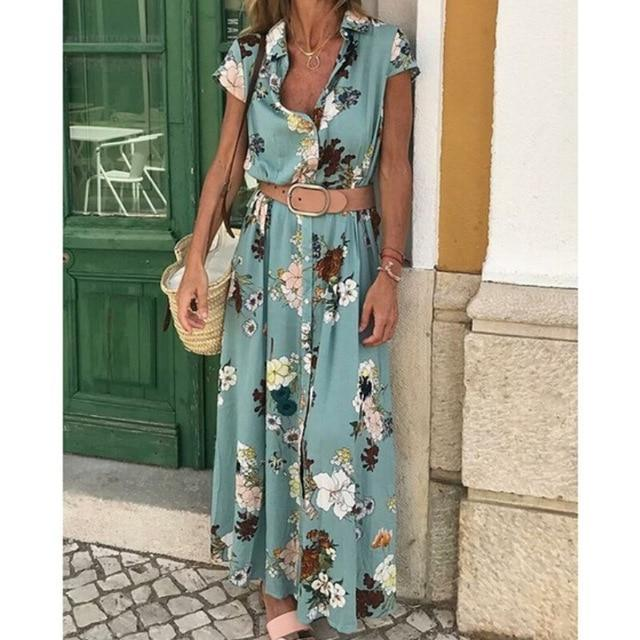 Boho Floral Print Casual Beach Maxi Dress with Belt
