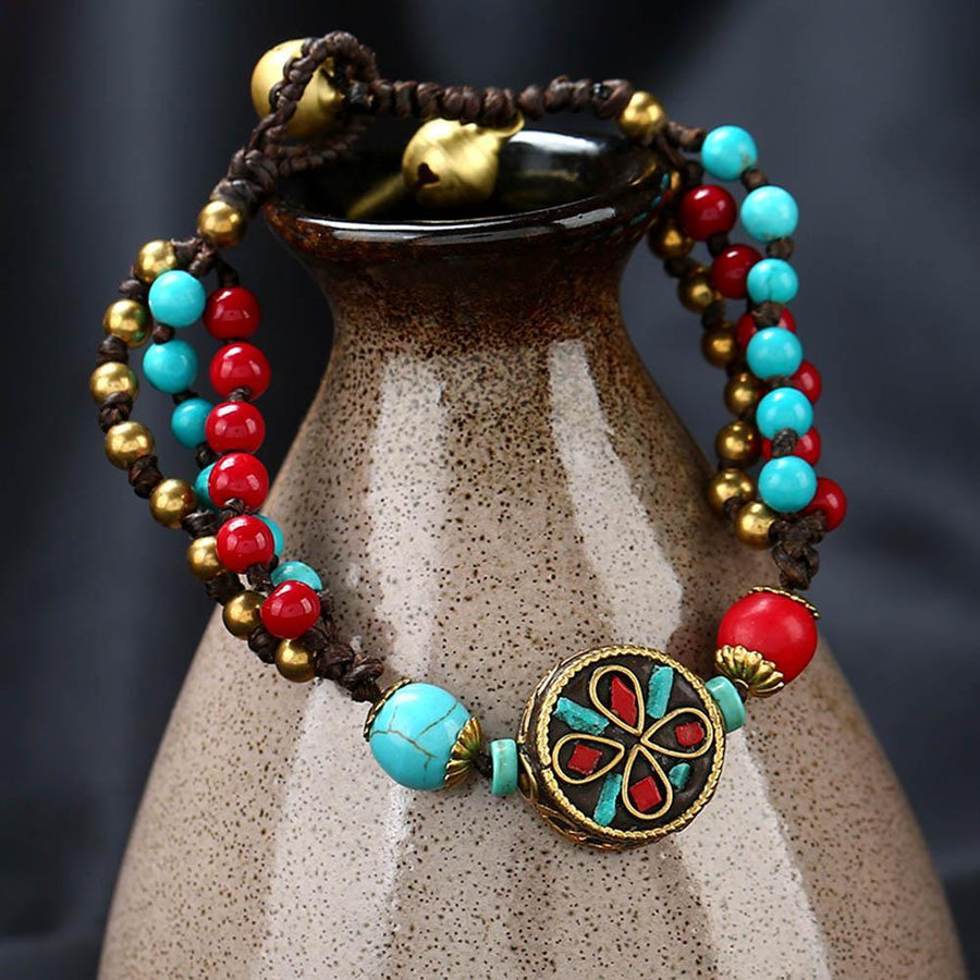 Ethnic Multilayers Colorful Stone Beaded Bohemia Adjustable Nepal Bracelet Jewelry