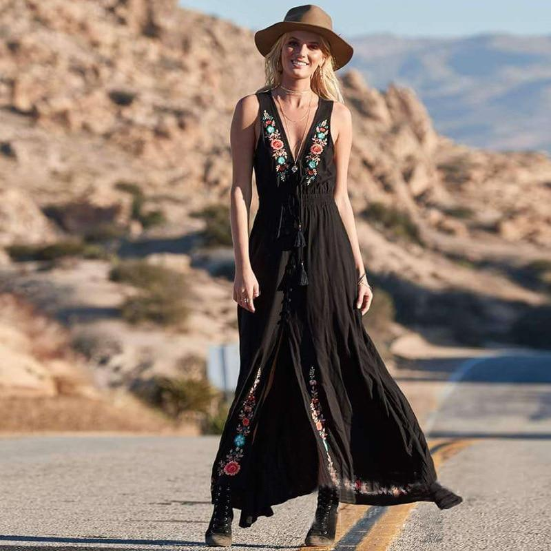 Vintage Bohemian Loose Embroidery Sleeveless  Holiday  Maxi Dresses Vestidos
