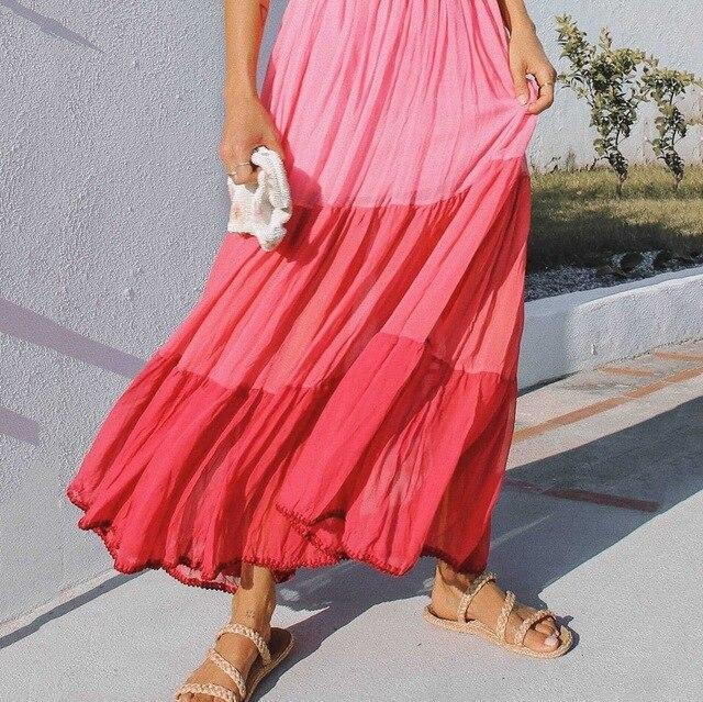 Bohemian Casual Loose Patchwork Square Collar Sleeveless Beach Maxi Dress