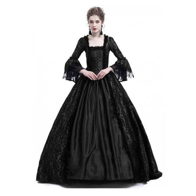 Gothic Medieval Flare Sleeve Ball Gown Halloween Cosplay Victorian Vintage Dress