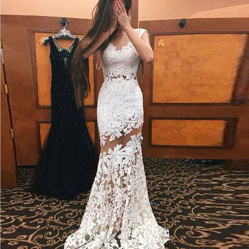 Sexy Hollow Out V Neck Lace Sleeveless Slim Long Party Evening Dresses Vesditos