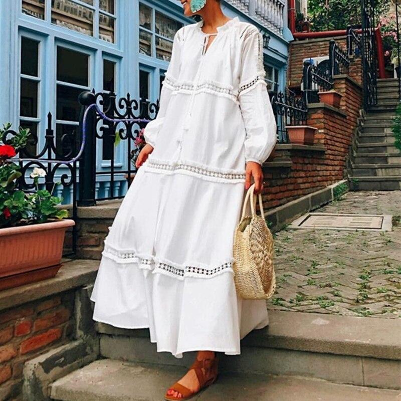 Bohemian Style Elegant Hollow Out White Lace Long Sleeve Maxi Dresses