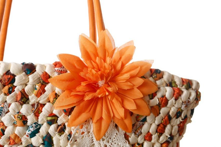 Handmade Floral Large Capacity Summer Beach Straw Bags