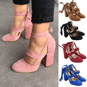Fashion Pumps Gladiator Shoes Lace Up High Heels Hollow Sandals