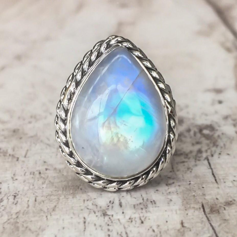 Retro Water Drop Shape Silver Color Moonstone Women Finger Rings
