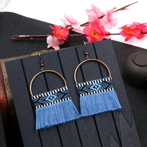 Retro Bohemian National Romantic Tassel Floral Semicircular Drop Earrings