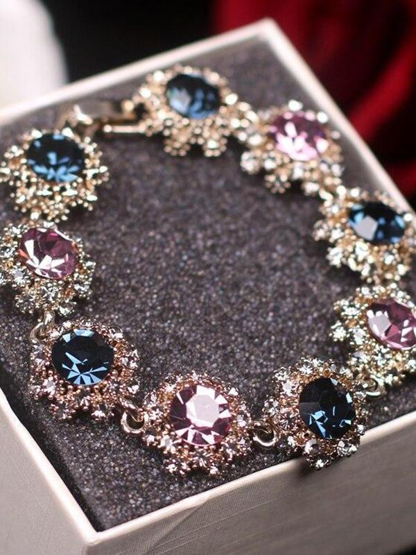 Vintage Charm Crystal Bangles Flower Bracelet Accessories Jewelry