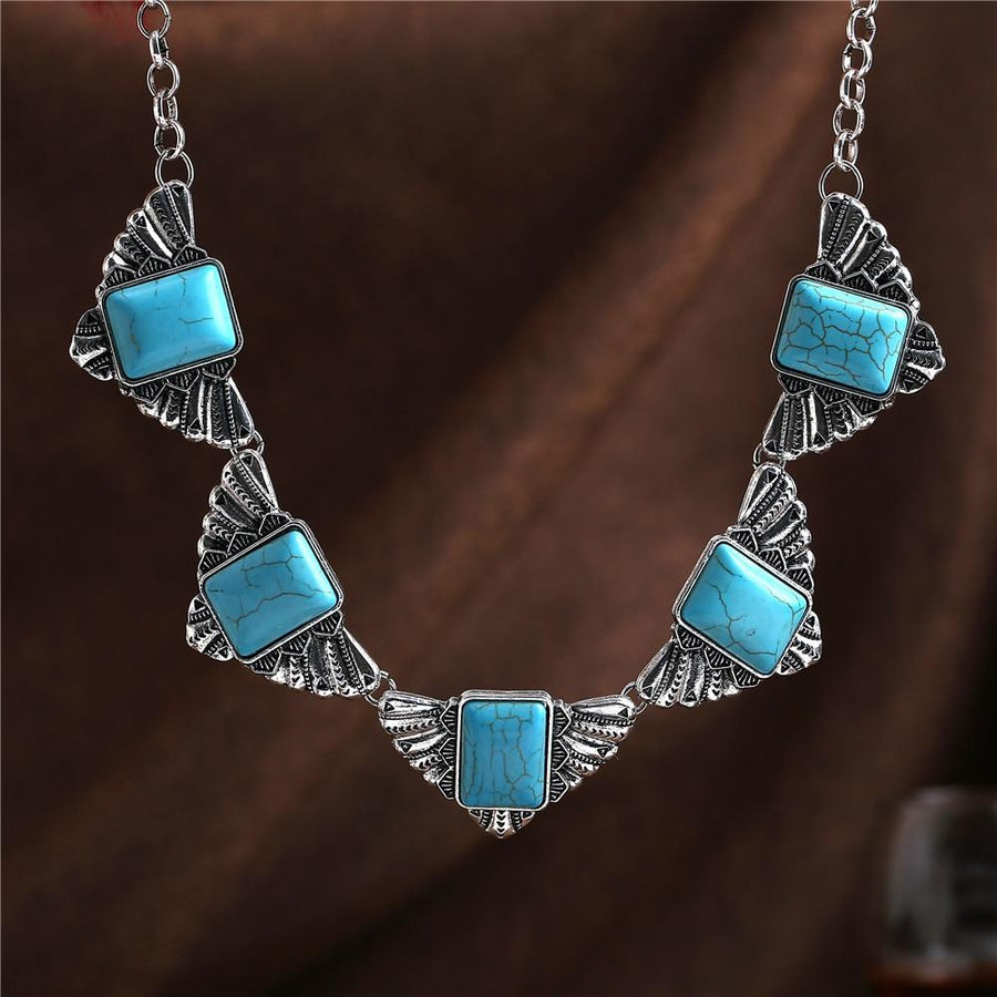 Bohemian  Tibetant Silver Turquoise Statement Necklace Jewelry