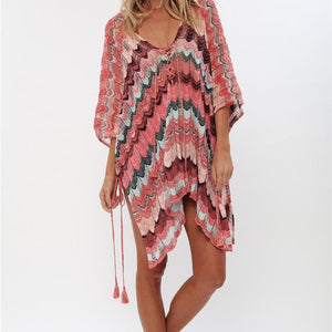 Holiday Crochet Knitted Beach Summer Striped Cover-ups