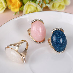 Fashion Crystal Big Stone Finger Rings Jewelry