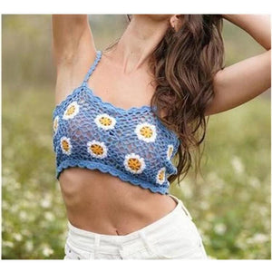 Hand-woven Floral Hollow Out Small Chrysanthemum Spaghetti Strap Sleeveless Beach Crop Tops