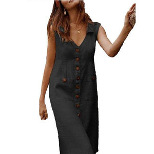 Casual V-Neck Plus Size Sleeveless Button Pocket Midi Dress