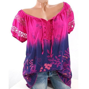 Casual Short Sleeve Lace Splice Floral Printed T-shirt Tops