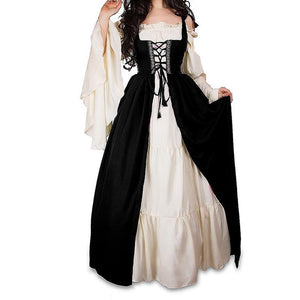 Vintage Victorian Lace Up Cothic Lolita Medieval Renaissance Customes Maxi Dress