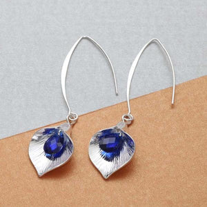 Chic Calla Lily Orchid Enamel Crystal Silver Earrings