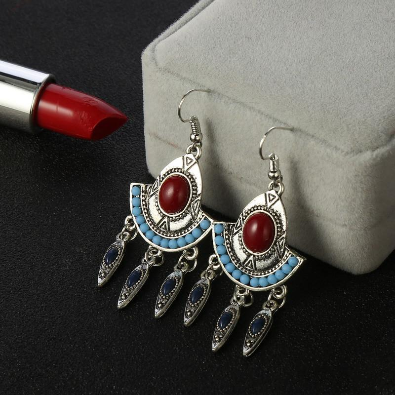 Vintage Tribal Beads Drop Earrings Jewelry