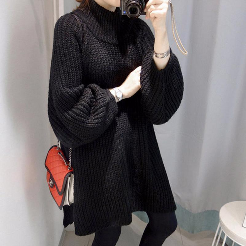 Turtleneck Split Hem Knitted Pullover Sweaters
