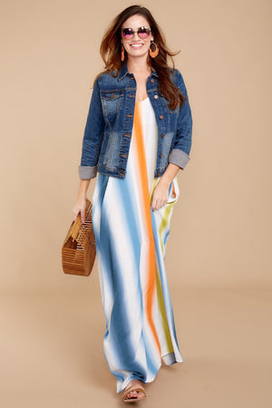 Spaghetti-Strap Sexy Backless Stripe Beach Long Dress