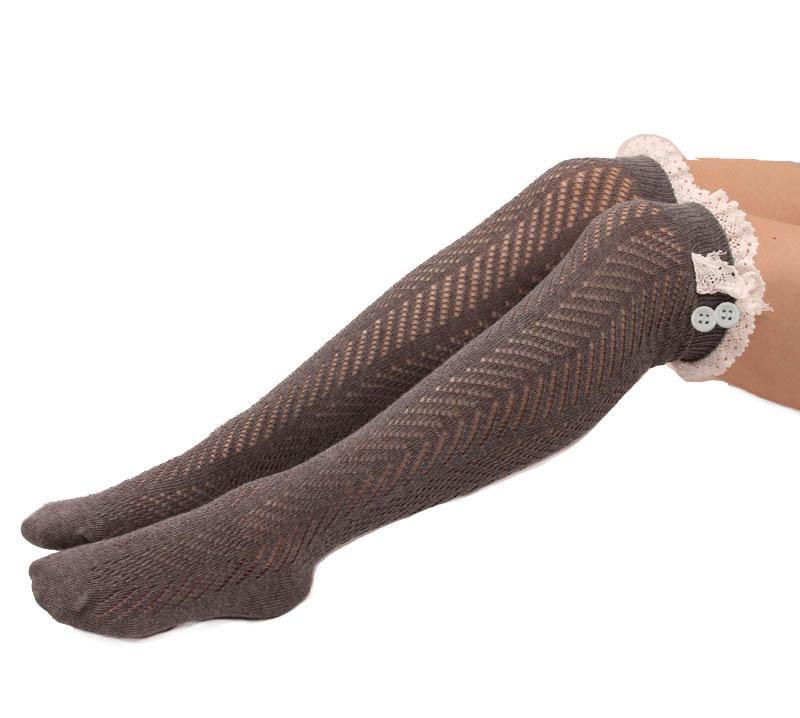 Button Lace Stockings Diamond Over The Knee Long Socks - Voguetide