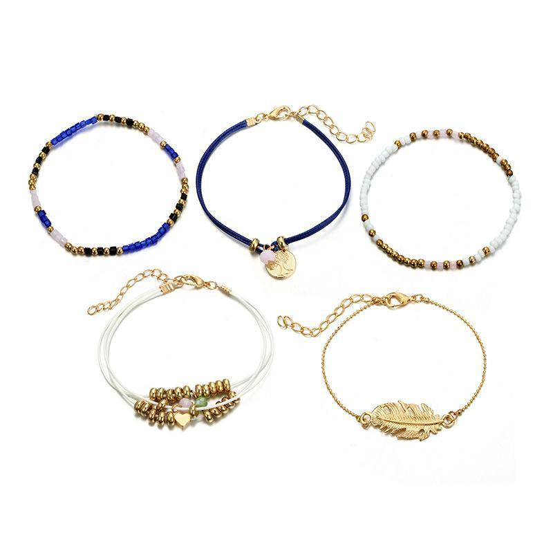 Ethnic Style Creative Alloy Rice Beads Love Leaves Feathers Multi-Layer Bracelet Cord Woven Bracelet Set Of 5 - Voguetide