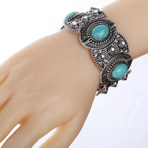 Vintage Ethnic Style Alloy Plated Ancient Silver Turquoise Bracelet