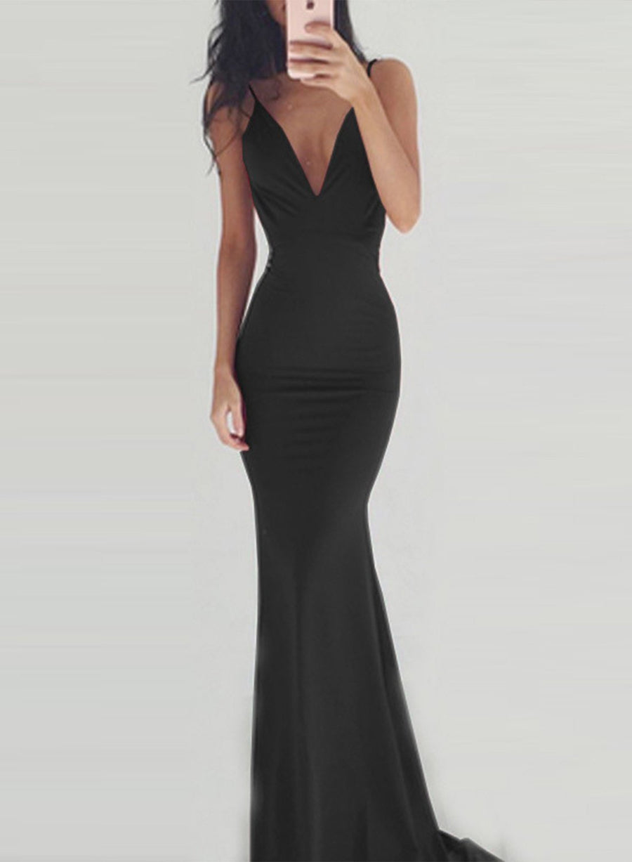 Women s Elegant V Neck Sleeveless Backless Maxi Prom Dress