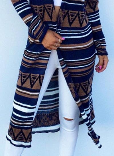 Women s Geometric Print Long Sleeve Cardigan Coat