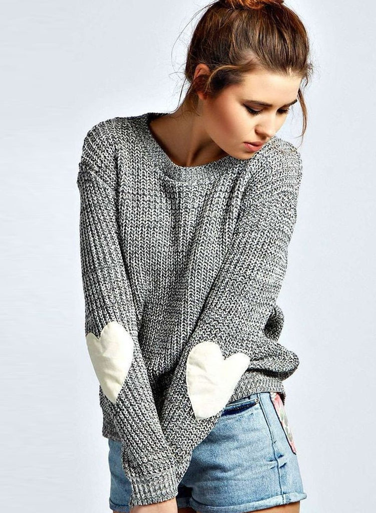 Women s Long Sleeve Beautiful Heathered Heart Patch Pullover Knit Sweater