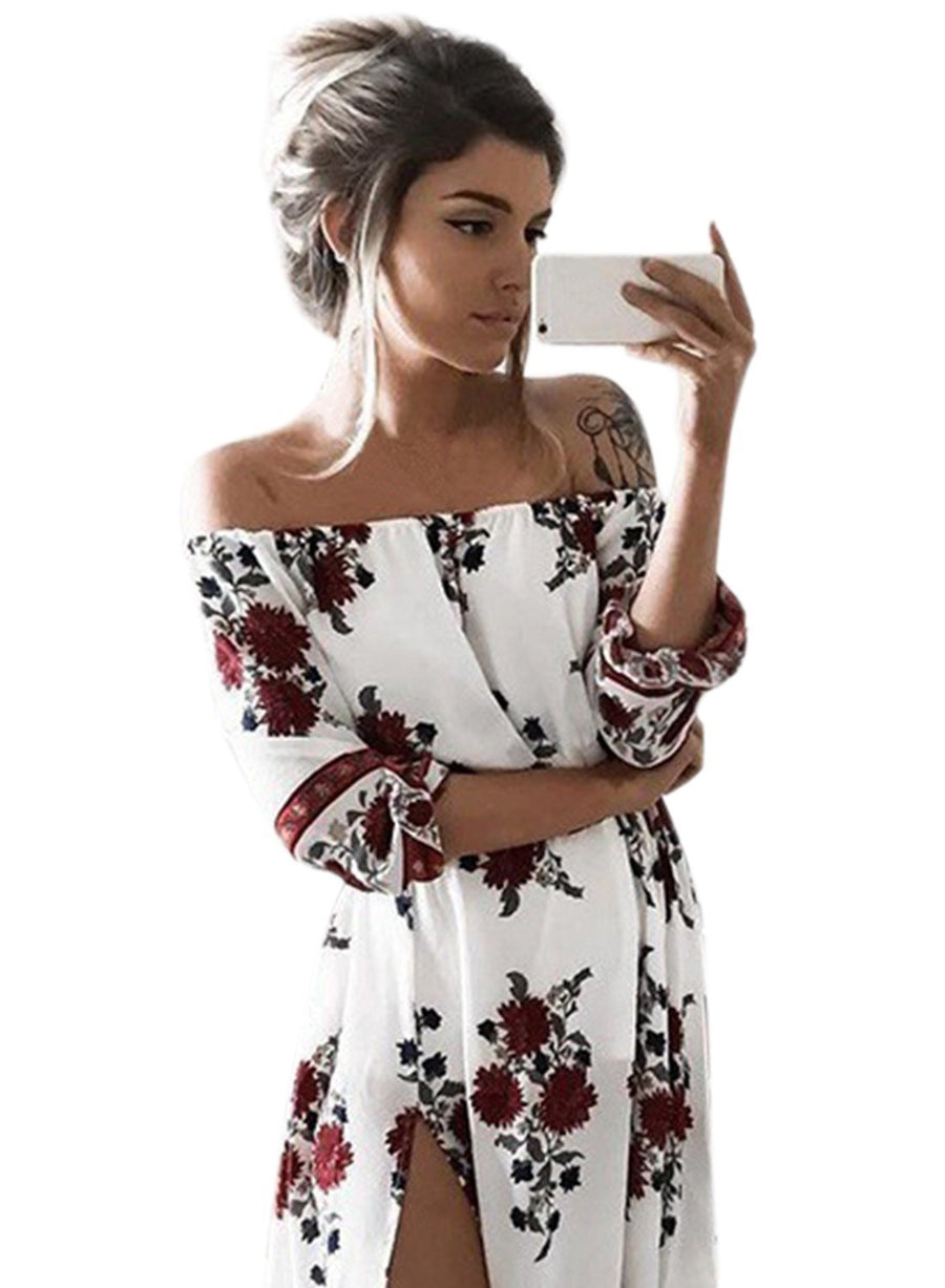 Women s PUff Sleeve Off Shoulder Floral Printed Maxi Dress