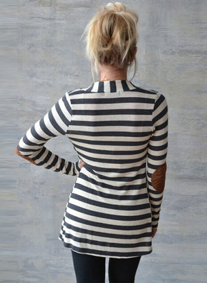 Striped Long Sleeve Open front Cardigan