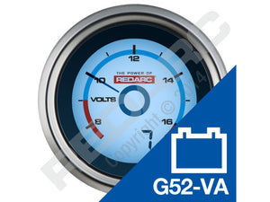 Single Voltage 52MM Gauge with Optional Current Display - By REDARC
