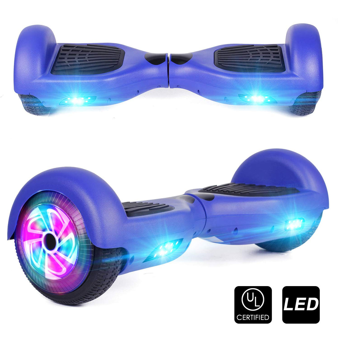 Sea Eagle Hoverboard Two-Wheel Self Balancing Electric Scooter UL 2272 Certified 6.5 with Bluetooth Speaker and LED Light Flash Lights Wheels Black