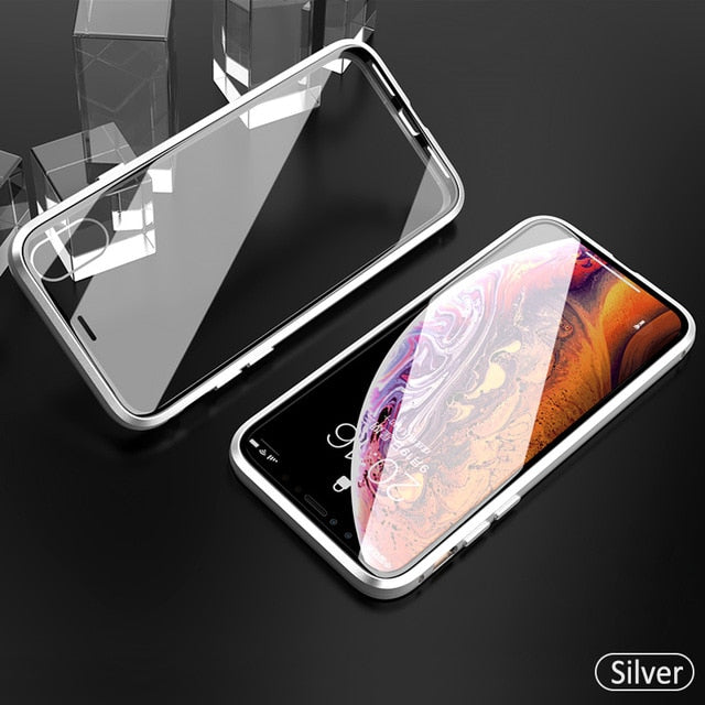 Luxury Double Sided Clear Glass Metal Magnetic Case