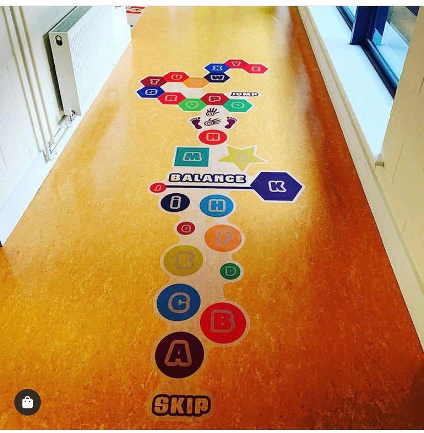 Alphabetical Steps with Balance Beam Floor Stickers