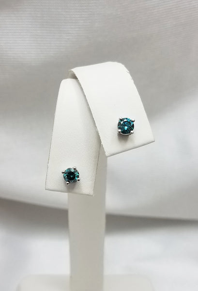 Color Enhanced Blue Diamond Stud Earrings