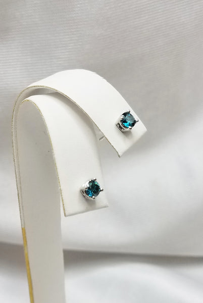 Colored Enhanced Blue Diamonds Stud Earrings - 0.32ct total weight