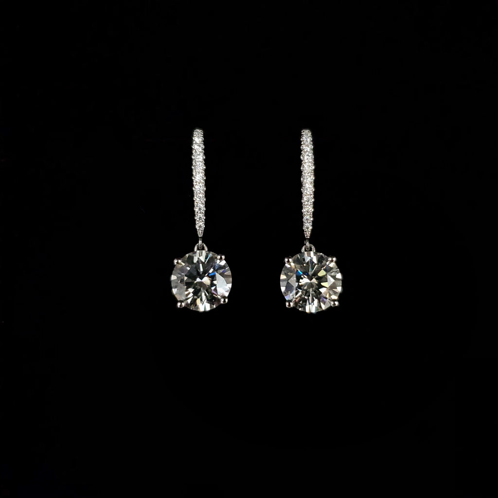 Genuine 14kt White Gold Moissanite Elegant Drop Earrings