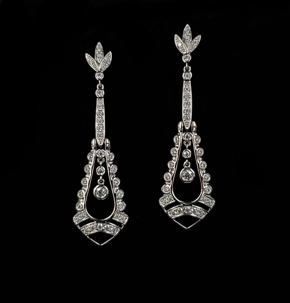 14kt White Gold Moissanite Elegant Chandelier Earrings